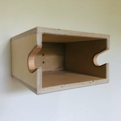 wooden bike shelf