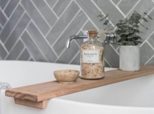 wooden bath shelf