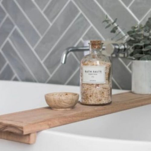 wooden bath shelf