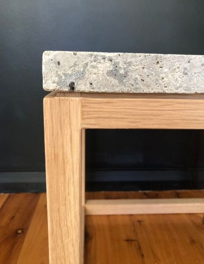 American oak and travertine side table 1