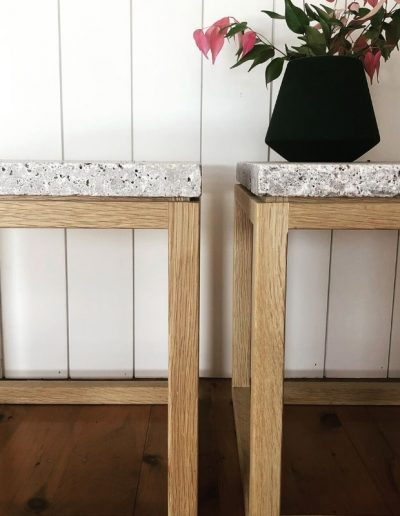 American oak side tables